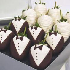bride and groom strawberries.