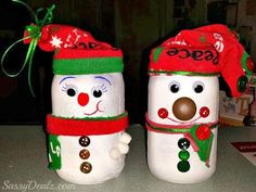 DIY Snowman Mason Jar Craft For Kids (Light Decoration) - Crafty Morning Christmas Art Projects, Christmas Crafts For Kids, Holiday Crafts, Christmas Diy, Reindeer Christmas, Christmas Stuff, Christmas Ornament, Mason Jar Snowman, Snowman Crafts
