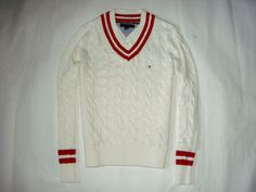 New Tommy Hilfiger White Collegiate Winter Sweater