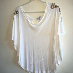 Bebe dolman sleeve top Size M, cream colored cotton with gold and bronze sequin detail on shoulders. Drapey dolman sleeves fitted bodice bebe Tops Blouses
