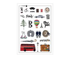 If you dont know what to do, go traveling. Go out and explore. Observe the world and observe what makes others move forward. Dont forget to take this set! It will be your guide on your way of discoveries. Perfect for diary, planner, mobile and any other items for decoration ;)  210 x 148 mm / 8.27 x 5.83 in transparent matte finish  made with love, copia.design Diary Planner, Notebook Stickers, Move Forward, How To Memorize Things, Forget, Traveling, Explore, Decoration, Design