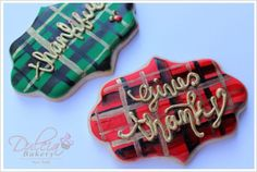 Plaid Thanksgiving Plaque Cookies by Dulcia Bakery.