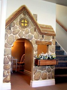 playhouse under the stairs . storybook cottage mural for kids under stairs playhouse Under Stairs Playhouse, Build A Playhouse, Playhouse Ideas, Closet Playhouse, Painted Playhouse, Playroom Mural, Playroom Ideas, Kid Playroom, Playroom Design