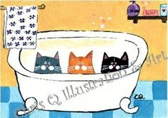 Three Cats in the Bathtub  PRINT of an by ChrisQillustration, $11.99