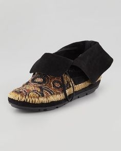 Mallory Beaded Moccasin Bootie, Black: House of Harlow 250.00