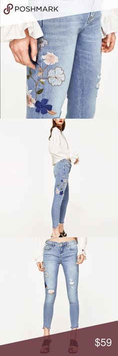 NWT Zara Embroidered Jean Beautifully embroidered, distressed and not over done! Perfect addition to your everyday wardrobe! Zara Jeans Skinny