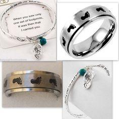 Silver Footprints in the Sand Stainless Steel Spinner Ring & Bracelet Gift Set #Unbranded #Spinner