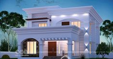 2044 square feet 4 bedroom beautiful modern house architecture plan by Dream Form from Kerala. Modern Small House Design, Classic House Design, Modern Exterior House Designs, Latest House Designs, Bungalow House Design, Dream House Exterior, Modern Architecture House, Architecture Plan, Village House Design