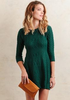 This cozy sweater dress is crafted in a gorgeous dark-teal hue and features a variety of cable knit patterns for a unique look. Designed with a ribbed waistline and ribbed hems, this cold-weath. Sweater Dress Outfit, Knit Dress, Green Sweater Dress, Cable Knit Sweater Dress, Sweater Dresses, Cute Sweaters, Vintage Sweaters, Fall Winter Outfits, Autumn Winter Fashion