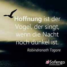 #Hoffnung ist der Vogel, der singt, wenn die Nacht noch dunkel ist. Rabindranath Tagore #Zitat
