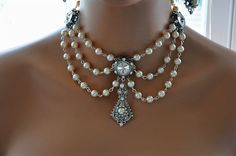 Bridal Pearl Choker,Bridal Rhinestone Necklace,Wedding Pearl Necklace,Ivory,Crystal,Vintage Style,Antique Silver,Beaded,Statement,GENEVA. $350.00, via Etsy. goes perfect with http://wardrobeshop.com/content/Nataya-titanic-ivory-gown-al-2101