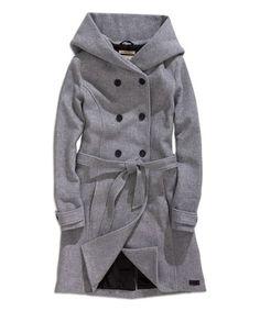 Another great find on #zulily! Gray Melange Tie-Waist Wool-Blend Trench Coat #zulilyfinds