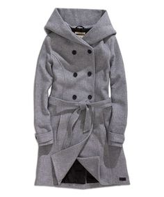 Loving this Gray Mélange Tie-Waist Wool-Blend Trench Coat on #zulily! #zulilyfinds