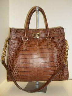 MICHAEL KORS Peanut Croc Embossed Leather N/S Hamilton Satchel Tote Handbag