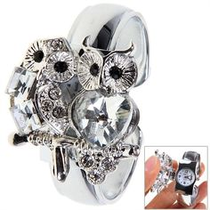 Fashion Unique Women's Bracelet Watch with Crystal Couple Owl Shaped Rhinestone Decoration Dial Cover Round Dial in Women's Watches | DressLily.com