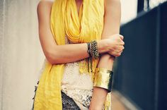 Style your summer outfit with a cheery mellow yellow scarf, the latest style bracelets and a thick gold cuff. Summer Scarves, Favim, Mellow Yellow, Bright Yellow, Playing Dress Up, Dress Me Up, Tie Dye Skirt, Korean Fashion, Fashion Forward