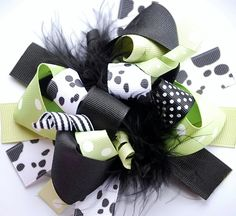 boutique FUNKY fun moo COW hair bow clip by andjane on Etsy