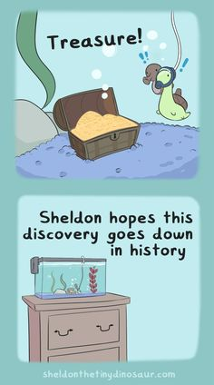 Sheldon the Tiny Dinosaur who Thinks he's a Turtle, , But it's based on a real treasure chest Storenvy Sheldon The Tiny Dinosaur, Dinosaur Images, Dinosaur Pictures, Cute Comics, Funny Comics, Turtle Dinosaur, Dinosaur Background, Funny Cute, Hilarious