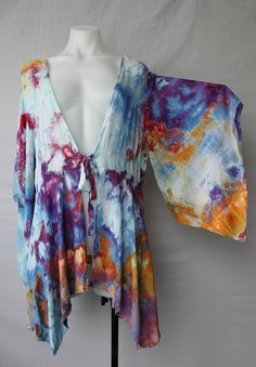 $52 - Tie dye Kimono Ice dye Cover up Carnival crinkle Size LG/XL Find this item on https://www.etsy.com/shop/ASPOONFULOFCOLORS?ref=hdr_shop_menu
