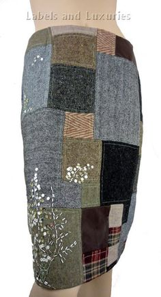 Easel Dean Dimonda Pencil Skirt Wool Patchwork on eBay