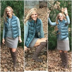 """So just curious. Do you dress up for your Thanksgiving feast or just start out in your """"fat"""" pants. Lol. Me, I take any opportunity to style a new outfit. Puffer Vest, striped tshirt and skirt @jcrew #jcrew Boots @vincecamuto #vincecamuto"""