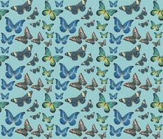 Blue Butterfly Paintings fabric by Angelaanderson.  Another pretty butterfly design for a picnic quilt.
