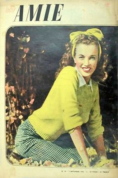 1946 September issue: Votre Amie Belgium magazine cover, Marilyn Monroe .... #marilynmonroe #normajeane #magazinecovers #raremagazine #pinup #iconic #votreamie #1946