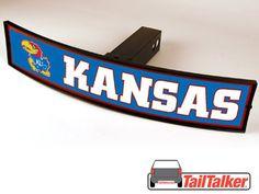 Kansas Jayhawks Trailer Hitch Cover Illuminated NCAA by tailtalker