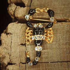 Show your sting with this Black Scorpion Brooch  #craft365.com