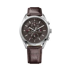 Classic men's Tommy Hilfiger chronograph by Debenhams, featuring a stainless steel case with brown dial. Brown crocodial embossed leather strap with buckle fastening. This watch comes with a 2 year guarentee. Mens Watches Leather, Watches For Men, Liverpool, Tommy Hilfiger Watches, Bracelet Cuir, Sports Luxe, Classic Man, Stainless Steel Watch, Fashion Watches