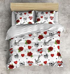 Fleece Rockabilly Bedding With Hearts Skulls Anchors Roses Rockabilly Bed Linens Rockabilly Bedding Set