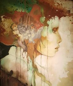 Surreal Portrait Paintings by Canadian artist Pascale Pratte. Influenced by sculpting, computer graphics, the women portraits created by Pascale all Oil Painting Abstract, Abstract Watercolor, Figure Painting, Watercolor Paintings, Watercolor Portraits, Beauty In Art, Open Art, Portrait Art, Portrait Paintings
