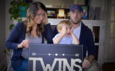 A series of photos used to create a pregnancy announcement. Twin Pregnancy Announcement.