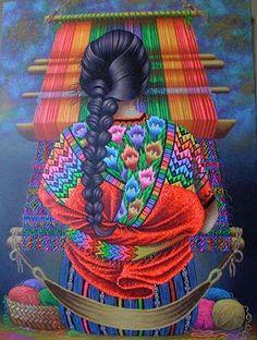 Colorful Guatemalan painting  TEJEDORA DE CHICHICASTENANGO QUICHÉ - GUATEMALA  LORENZO Y PEDRO ARNOLDO CRUZ SUNU PINTORES DE SAN PEDRO LA LAGUNA SOLOLÁ GUATEMALA
