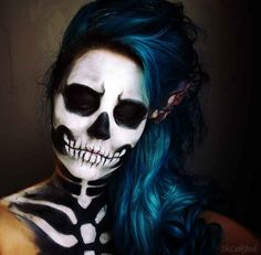 Halloween sugar skull makeup makeup beauty black eye dark gray blend cheekbones