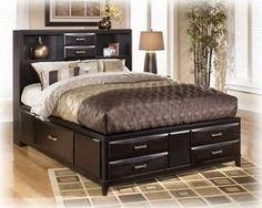 Amazon.com: Ashley Kira Contemporary King Storage Bed in Black Finish: Home & Kitchen