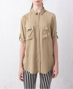 Big Pockets Pure Color Long Sleeves Blouse