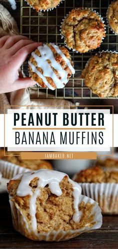 Peanut Butter Banana Muffins - Peanut Butter Banana Muffins are healthy treats for a quick breakfast! With just a few basic ingred - Peanut Butter Banana Bread, Healthy Peanut Butter, Peanut Butter Recipes, Breakfast Recipes, Muffin Recipes, Dinner Recipes, Cod Recipes, Roast Recipes, Noodle Recipes