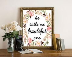 He Calls Me Beautiful One, Song of Solomon 2:1, Christian Quote, Nursery Scripture, Nursery Prints, Baby Girl Print, Christian Wall Art by boutiqueprintart on Etsy