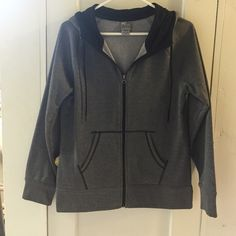 Zip Up Work Out Hoodie Never worn! Grey and black work out zip up hoodie. Jackets & Coats