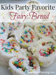 Planning a kids party?  Fairy bread is pretty much a staple requirement for the food table.  Not only is it incredibly EASY to make, but the kids absolutely love it.    Forget about fussing over fancy party food and instead go for the  bread and sprinkles.  What could be easier!