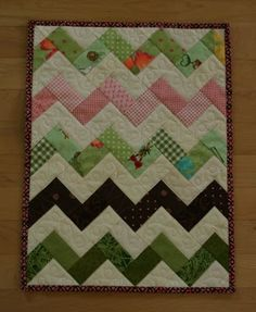 Free motion quilting idea for chevron quilt