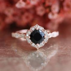 Mini Vintage Floral Black Spinel Engagement Ring by LaMoreDesign