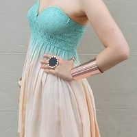 Teal Strapless Tie-Dye Dress with Padded Sweetheart Neckline