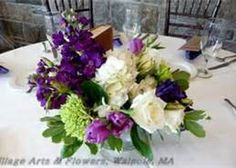 Purple Hydrangea Wedding Centerpiece. I love the purple with the green.