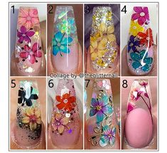 - Inspo ✨👌 What about a flower accent in your next set of nails? 🌻🌹🌷 Which one is your favourite? Glam Nails, Bling Nails, Cute Acrylic Nails, Cute Nails, Finger, Encapsulated Nails, Pretty Nail Art, Beautiful Nail Designs, Flower Nails