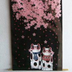 beautiful tapestry hanging  wall Maneki Neko by Morondanga on Etsy