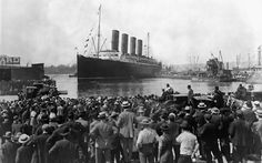 """Called to my attention that this is not Titanic. It is RMS Lusitania. """"Individuals gather to witness the RMS Titanic's departure from Southampton, Hampshire, UK, 1912."""""""