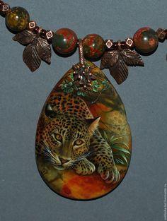 Купить Леопард - комбинированный, лаковая миниатюра, живопись маслом, живопись на камне, авторская ручная работа