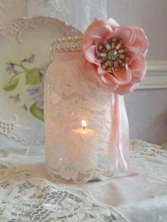My vintage mason jar n lace wedding candles - centetpieces